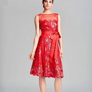 Tadashi Shoji Sleeveless Illusion Sequin Dress
